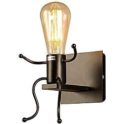 FSTH Créatifs Applique Murale Rétro Fer Vintage Lampe murale Moderne Individuels Applique Métal Lampe pour Bar, Chambre à Coucher, Cuisine, Restaurant, Café, Couloir E27 (Noir)