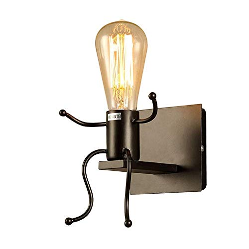 FSTH Lámparas de Pared de Creativas Escalonadas Personas Individuales Lámparas de Pared Dormitorio Sala de Moderna Lámparas de Cabecera de Metal Regalo de Pared Iluminación E27 (Negro)