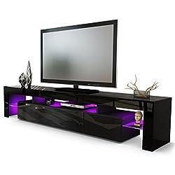 Meuble TV bas Lima V2, Corps en Noir / Façades en Noir haute brillance