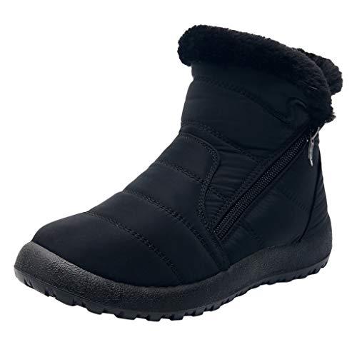 Dorical Damen Schneestiefel Winterschuhe wasserdichte Ankle Boots Winter Warm Gefüttert Snowboot Damenstiefel Gr 35-43(Schwarz,36 EU)