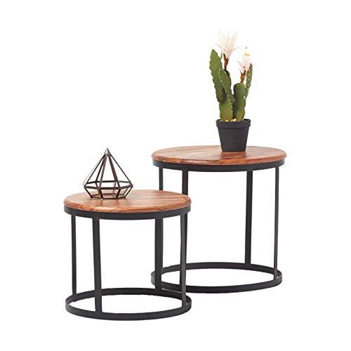 Homescapes Natur Braun Soho Couchtisch 2er Set rund, Moderner Beistelltisch aus Akazie Massiv-Holz und Metallgestell, Nest von Tischen im Vintage Design, Handgefertigt Nachttisch, H45 x B45cm -