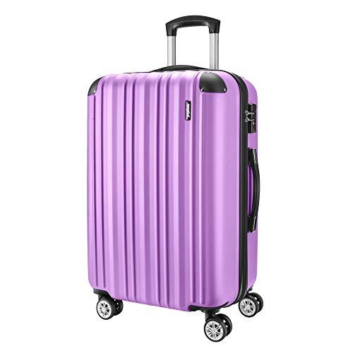 Amasava Maletas de Viaje,Maleta Rígida,Maleta Mediano,Cerradura TSA,65cm,67L,4 Ruedas multidireccional,Púrpura pálido
