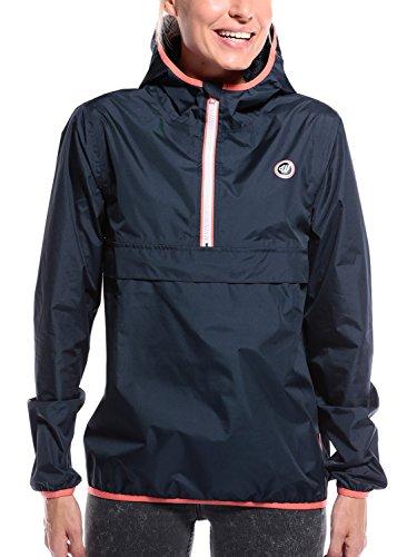 Regenjacke Damen Regenponcho Regenmantel Windbreaker - wasserdicht atmungsaktiv Winddicht Outdoor Jacken mit Reißverschluss blau Large L