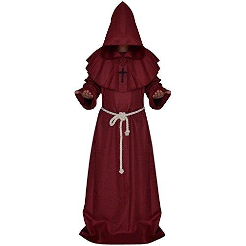 Priester Mönchskostüm für Herren 3tlg. Umhang mit Kapuze, Kreuzkette und Bindegürtel Mittelalterliches Faschingskostüm Rot (Die Mittelalterlichen Mönch Kostüme)