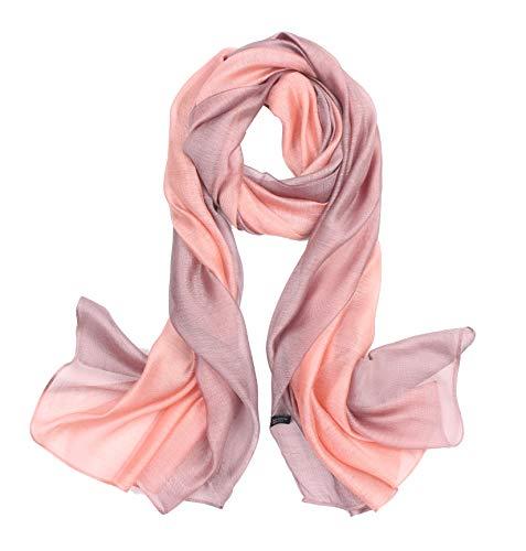 195*70cm Elegant stillvoll Seide Halstuch Stola Schal Farbverlauf Geschenk Freundin Damen (Rosa)