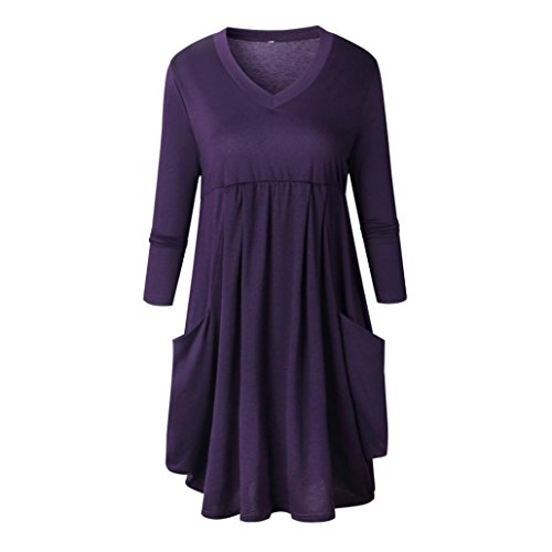 Loose V Neck Shirt Kleid Damen Langarm Mini Dress (Lila, XL) (Jungen Dunkel-lila Kleid Shirt)