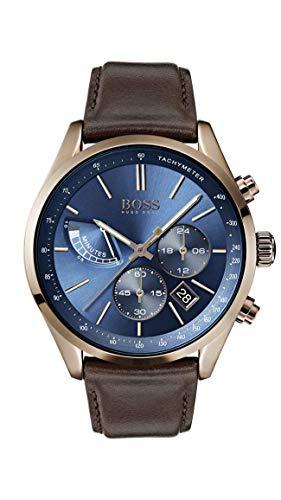 Soldes Hugo Boss Hommes Chronographe Quartz Montre avec Bracelet en Cuir 1513604