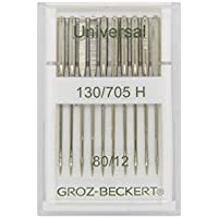 Groz-Beckert 10Paquete Universal de Agujas 130/705H con Plano pistón y Punta Redonda para el hogar Coser Agujas para máquina de Coser, NM. 80/12