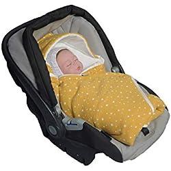 MoMika Stars Musselin Unisex saco para capazo | Universal y multiusos | Saco nana bebés | 100% Manta de algodón y 100% el vellon | Bebés Saco de Dormir | Manta con Capucha (Mustard)