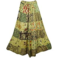 Women's Maxi Skirt Sky Green Vintage Ethnic Patchwork Rayon Skirts S/M