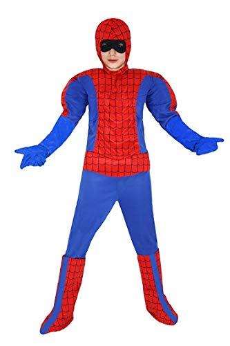 Piccoli monelli costume uomo ragno bambino 10 11 anni vestito spider man bimbo con muscoli caldo di carnevale altezza 123 cm