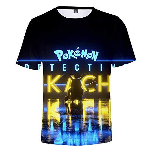 Fairy jj Unisex 3D Print T-Shirt Persönlichkeit Sommer Casual T-Shirt, Pikachu Digital Print 3D Kurzarm T-Shirt (Oder Junge Ein Ein Ist Mädchen Pikachu)