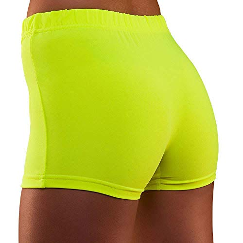 Unbekannt 80's Neon Hot Pants Yellow Small and Extra Small for Fancy Dress Costume
