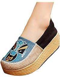 Huicai Zapatillas Bordadas para Damas Zapatos Inferiores con Poco Aumento Zapatos de Tela con patrón