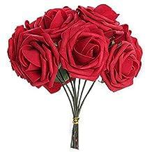 niceeshop(TM) Bouquet de Rose Fleur Artificielle en étoffe pour le Mariage (Rouge, Kit de 10)