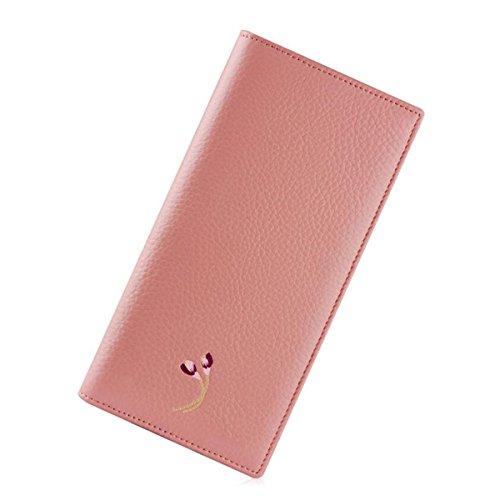 Jia Qing Dame Wallet Two Fold Wallet Soft PU Große Kapazität Cross Section Hand Tasche,Pink-OneSize (Fold Wallet Damen Two)
