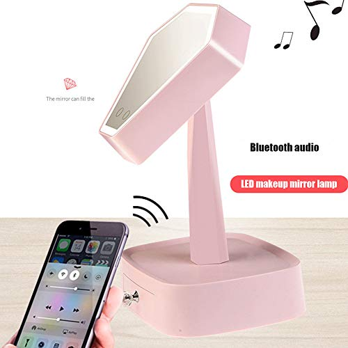 SSeir Bluetooth Klingen LED Schminkspiegel Tischlampe Kreativer Lademodus Nachttischlampe Desktop Schminkspiegel Beleuchtet Mit Schublade