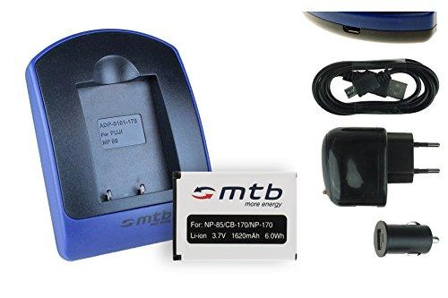 Akku + Ladegerät (Netz+Kfz+USB) NP-85 für Fuji Fujifilm Finepix S1, SL240, SL260, SL280, SL300, SL305, SL1000