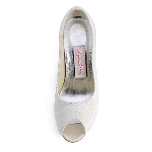 ElegantPark EP11013-35 Escarpins Femme Chaussures de mariee mariage bal Ivoire