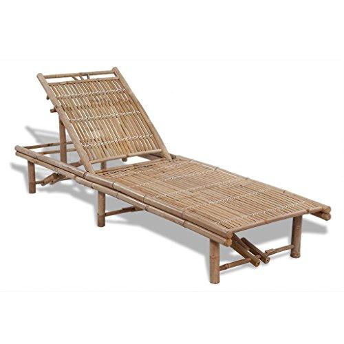 vidaXL Bambus Sonnenliege Gartenliege Pool Liegestuhl verstellbare Rückenlehne