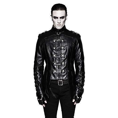 Punk Rave Herren Schwarz Gothic Stehkragen Heavy Metal Military Uniform Kurzer Mantel ()