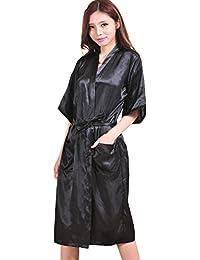 H.L Mujer Kimono - Albornoz Vestido Color sólido Pijama Camisón De Seda Hielo Sexy Nightclothes y de Satén Bata…