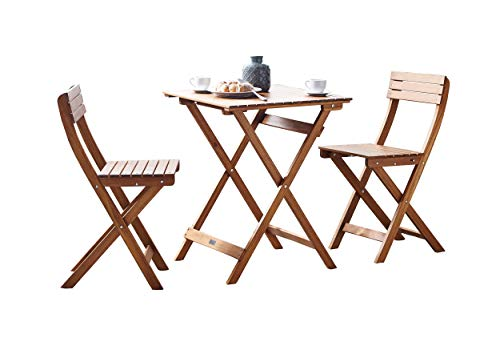 garten holzmoebel SAM Garten-Sitzgruppe 3tlg. Akazienholz geölt, FSC® 100% zertifiziert, 1x Tisch + 2x Stuhl, klappbar