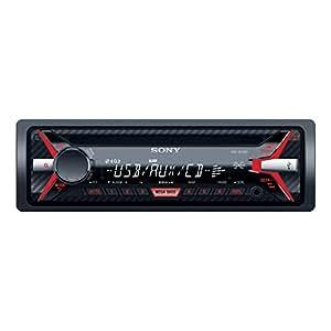 Sony CDX-G1100U Autoradio con Lettore CD, MP3, USB, Aux, Potenza Massima di Uscita 4x 55 W, Rosso