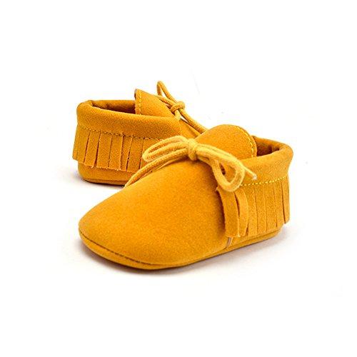 Weihnachtsgeschenk Niedlich Baby Säugling Kind Junge Mädchen weiche Sohle Kleinkind Schuhe Quaste Gummiband (6-12 Monate/12CM/4.72 inches, Erdiges Gelb) (Jungen Nike-schuhe, Kleinkind, 9)