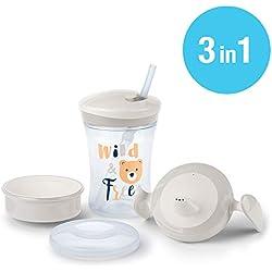 NUK Kit 3-en-1 Tasse D'Apprentissage pour Bébé avec Trainer Cup (6+ M), une Tasse Antifuite Magic Cup 360° (8+ M) et une Tasse Action Cup (12+ M), 230 ml, sans BPA, Ours (Gris)