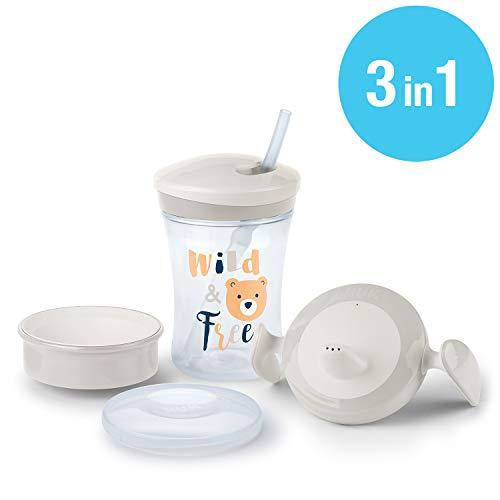 NUK 3-in-1 Trinklern-Set, mit Trainer Cup Trinkbecher Baby, Magic Cup 360° Trinklernbecher und Action Cup Trinklernflasche, 6+ Monate, 230ml, BPA-frei, bär (grau)