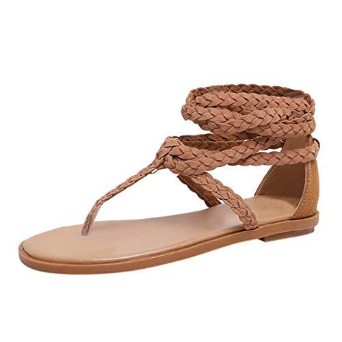 Lilicat Promozione della Moda Sandali Donna Estate Sandalo Incrociato con Cinturino alla Caviglia Bendare Eleganti Infradito Scarpe Romane Pantofole Intrecciati(Beige,37 EU)