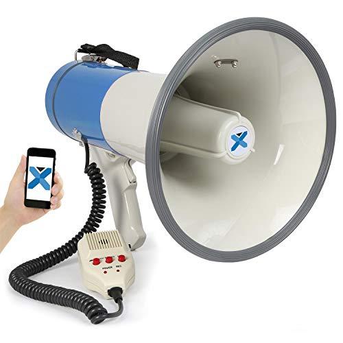 VexusMEG055 Megafon Prof. 55W Megaphone mit Mikrofon (Bluetooth, MP3 fähiger USB-Slot, SD-Speicherslot, Aufnahme, Batterie-Betrieb) blau-weiß