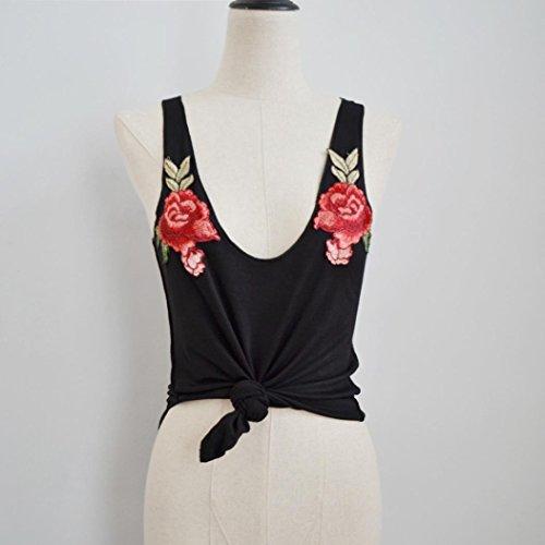 Sexy Gilet, Amlaiworld Femmes mode sexy v-Neck Appliques tanks et Camis sans manches rose Tops blouse Noir