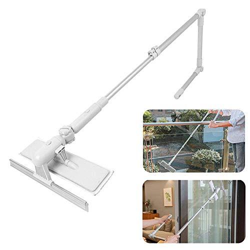 LARRY SHELL Professioneller Scheibenwischer mit Scrubber Allzweck-Glasreinigungs-Kits für den Außenbereich Verlängerungsstange Rillenbürste für Dusche, Auto und hohe Fenster