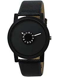 Snapcrowd Attractive Stylish Sport Look Black Dial Stylish Black Leather Strap Analog Watch For Men & Boys