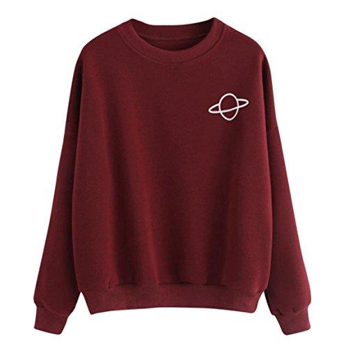 Damen Herbst Pullover,Moonuy Frühling, Herbst Heißer Verkauf Frauen Mädchen Casual Sweatshirt Plus Größe Langarm Oansatz Pullover Stilvolle Einfache Baumwolle Bluse (Weinrot, S)