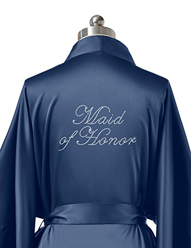 Price comparison product image SIORO Personalized Satin Robes Bridal Wedding Party Pajamas Night Gowns Maid of Honor, Navy Blue, M