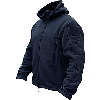 TACVASEN Windproof Men's Military Fleece Combat Jacket Tactical Hoodies, Navy Blue, L