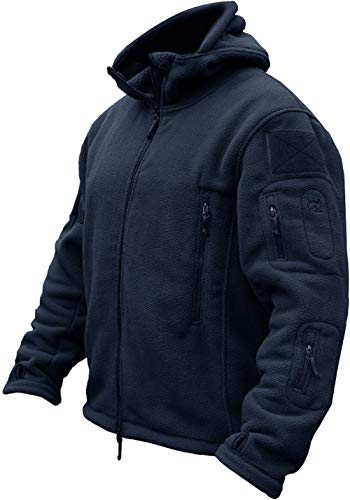 TACVASEN Herren Fleecejacke Military Outdoor Winddichte Jacke mit Kapuze- Gr. L, Navy Blau Warme Winter-jacke