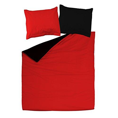 Noir & Rouge - SoulBedroom 100% Coton Parure de lit Réversible (Housse de couette 200x200 cm & 2 Taies d'oreiller 65x65 cm)