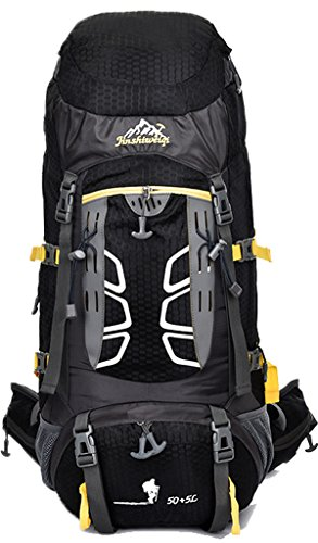 NEWZCERS 55L Impermeabile Borsa Sportiva Durevole Sportiva Trekking Camping Escursionismo Zaino di Viaggio Zaino da Montagna Confezione da Arrampicata Nero