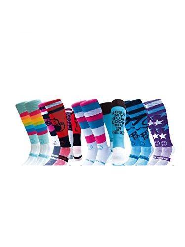 WackySox Sechs Paare Supersaver Luvvable Sportsocken Adult Shoe Size 41-46 (Frauen Socken Fun Knie-hohe)