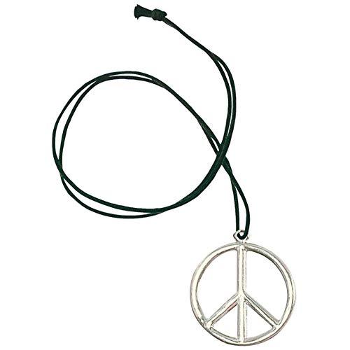 TK Gruppe Timo Klingler Peace Kette aus echtmetall Hippe Kostüm Outfit Accessoires 70 er 80 er Jahre Verkleidung Kostüm Damen und Herren Fasching ()