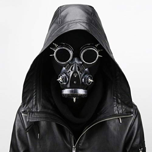 Sixminyo Biogefährdung Steampunk Gasmaske Brille Spikes Skelett Krieger Tod Maske Maskerade Cosplay Halloween Kostüm Requisiten (Color : Silver)