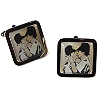 Banksy - Kissing Coppers Chrome Cufflinks