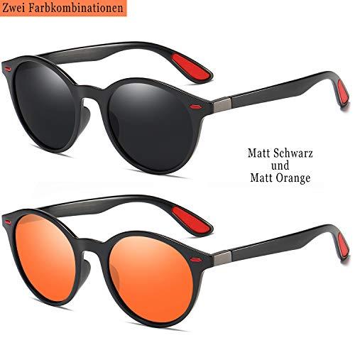 wearpro Retro Sonnenbrillen Herren Damen Runde Polarisierte Sonnenbrillen Herren Sportbrillen Mode TR Material Ultraleicht UV400 (Matt schwarz + Matt orange)