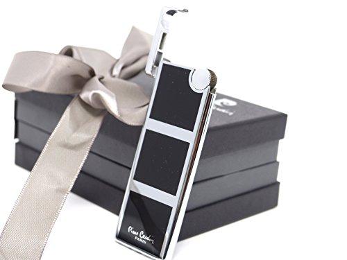 Pierre Cardin Feuer-Zeug Slim Edel-Stahl Design Chrom Schwarz Silber Zigaretten Zigarren Lighter Brenner Sturm-Feuerzeug