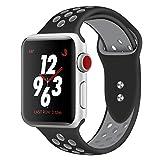 Straper Für Apple Watch Armband 42mm, Qualität Weich Silikon Sport Ersatzarmband Uhrenarmbänder für iWatch Series 3 Series 2 Series 1 Nike+ Edition Schwarz/Grau