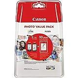 """Canon PG-545XL/CL-546XL Cartuccia Originale Getto d'Inchiostro a Resa Elevata, 2 Pezzi, Nero/Colore + 50 Fogli di Carta Fotografica Lucida 4"""" x 6"""""""